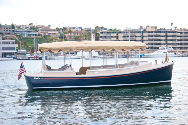a duffy-herreshoff watertaxi like this is converted to run with a hydrogen  fuel cell